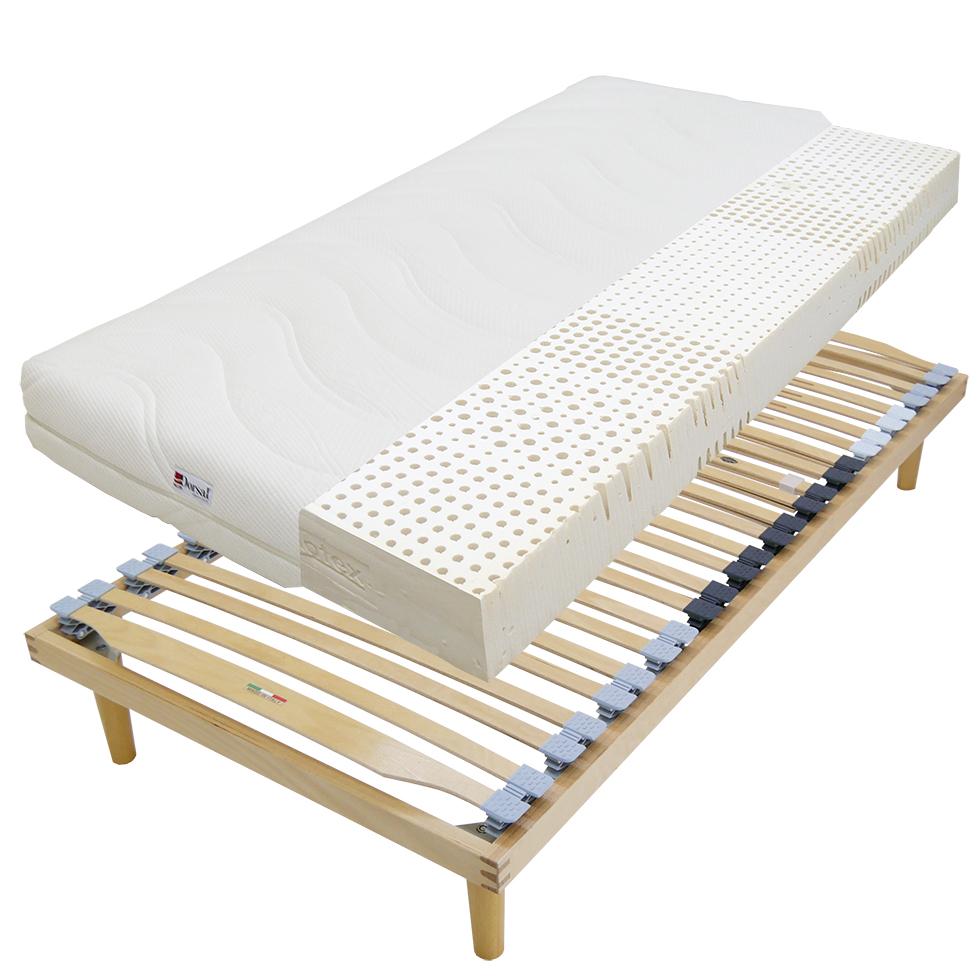 ウッドスプリングベッド+ラテックスマット18cmミディアム