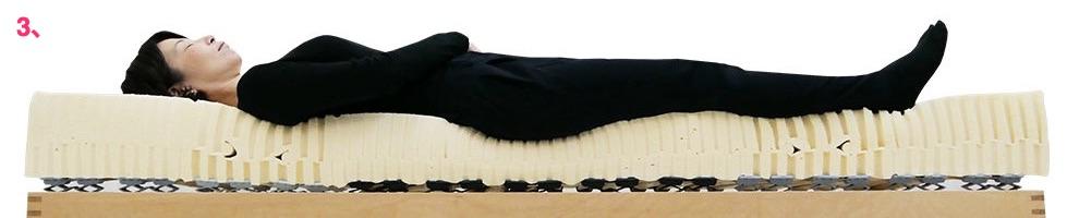 ウッドスプリングベッド+ラテックスマット20cmミディアム女性寝姿勢図