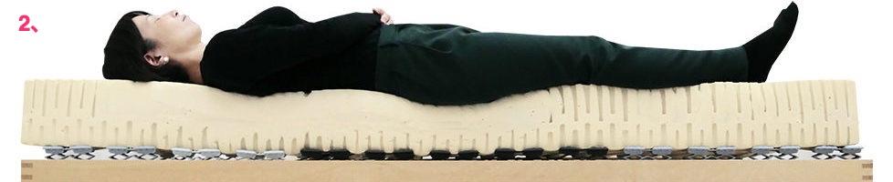 ウッドスプリングベッド+ラテックスマット18cmミディアム女性寝姿勢図